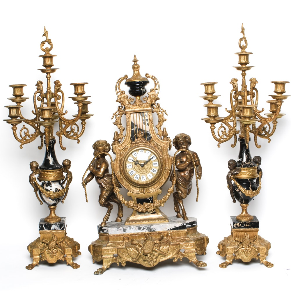 Imperial Brass and Black Marble  Rococo Style Garniture Set