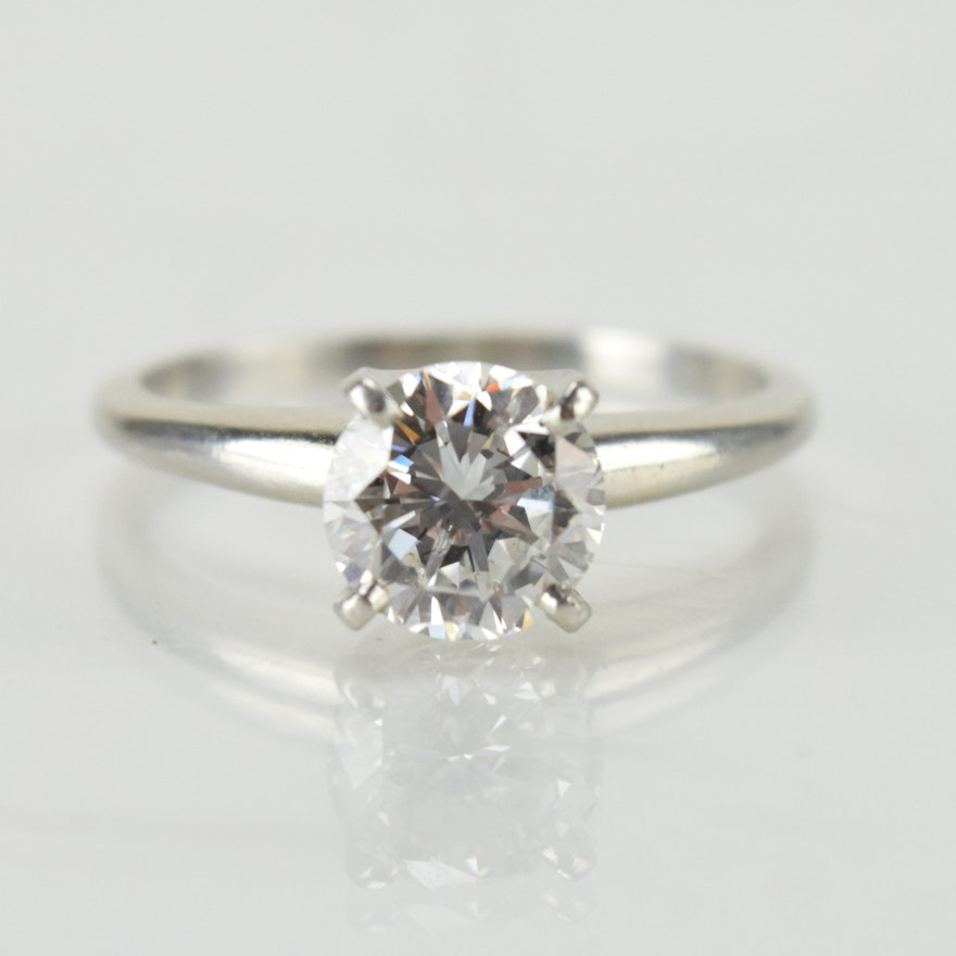 Platinum and carat diamond solitaire ring ebth for 26 carat diamond ring