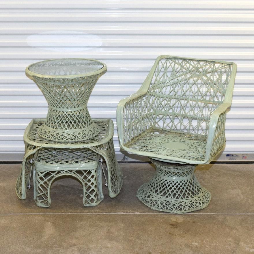 Mid Century Russel Woodard Spun Fibergl Patio Furniture