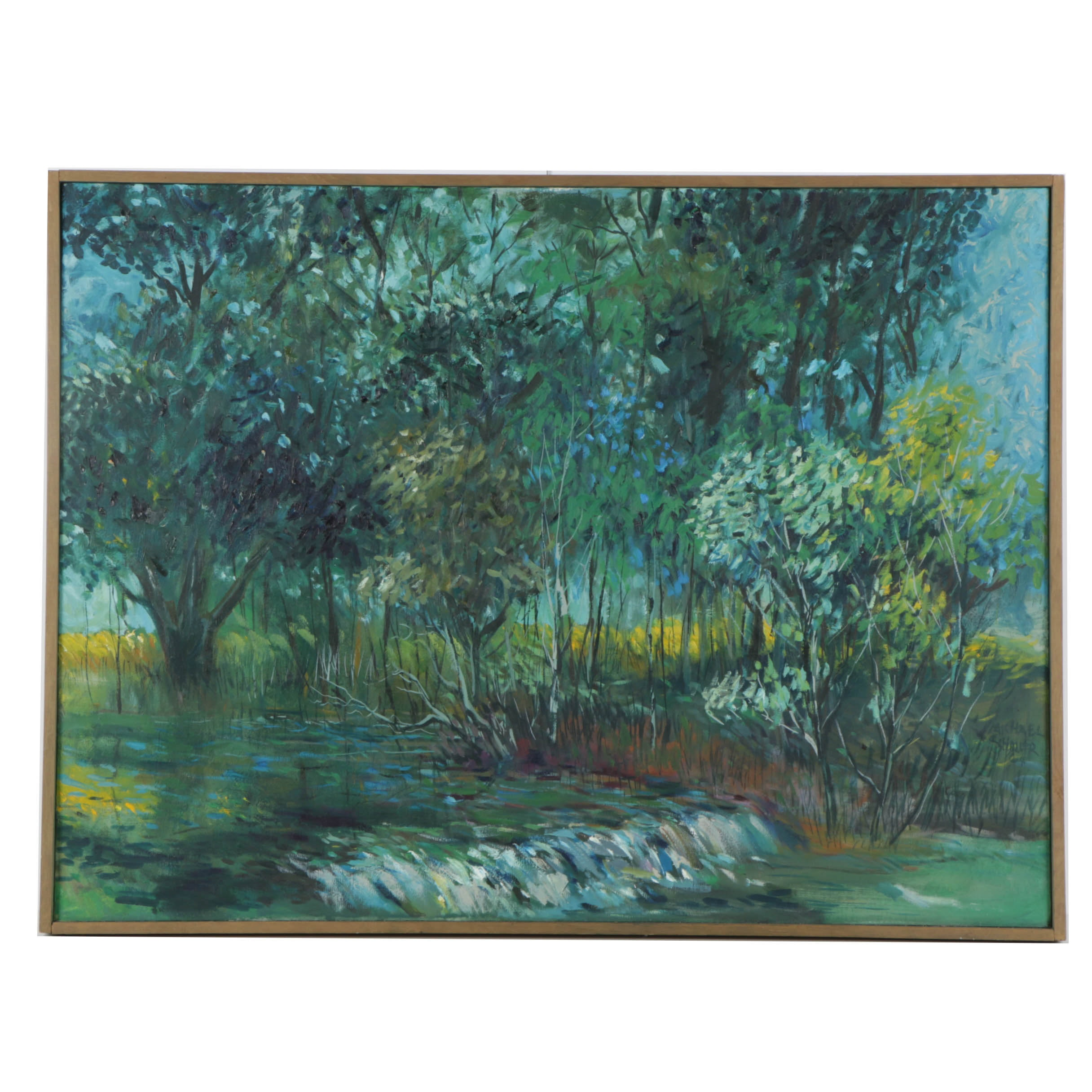 Oil Painting on Canvas of a Flooded Landscape