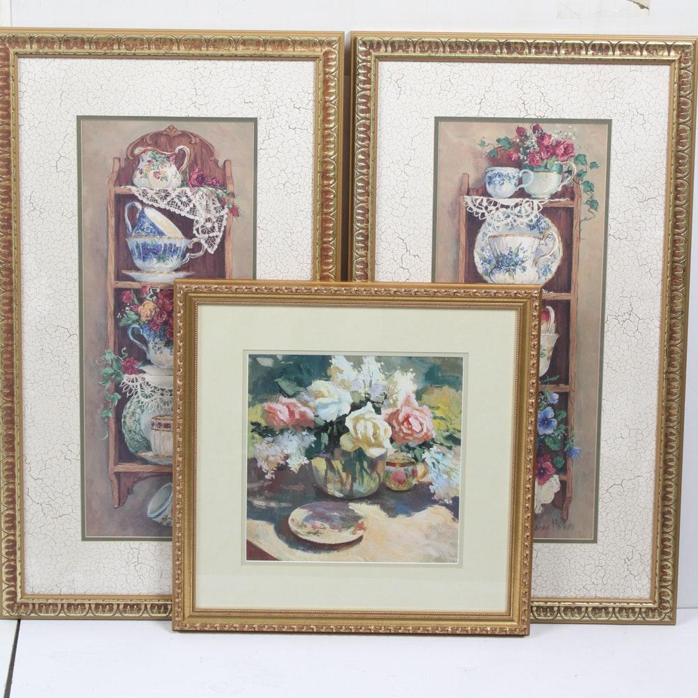 Gilt Framed Floral Offset Lithographs