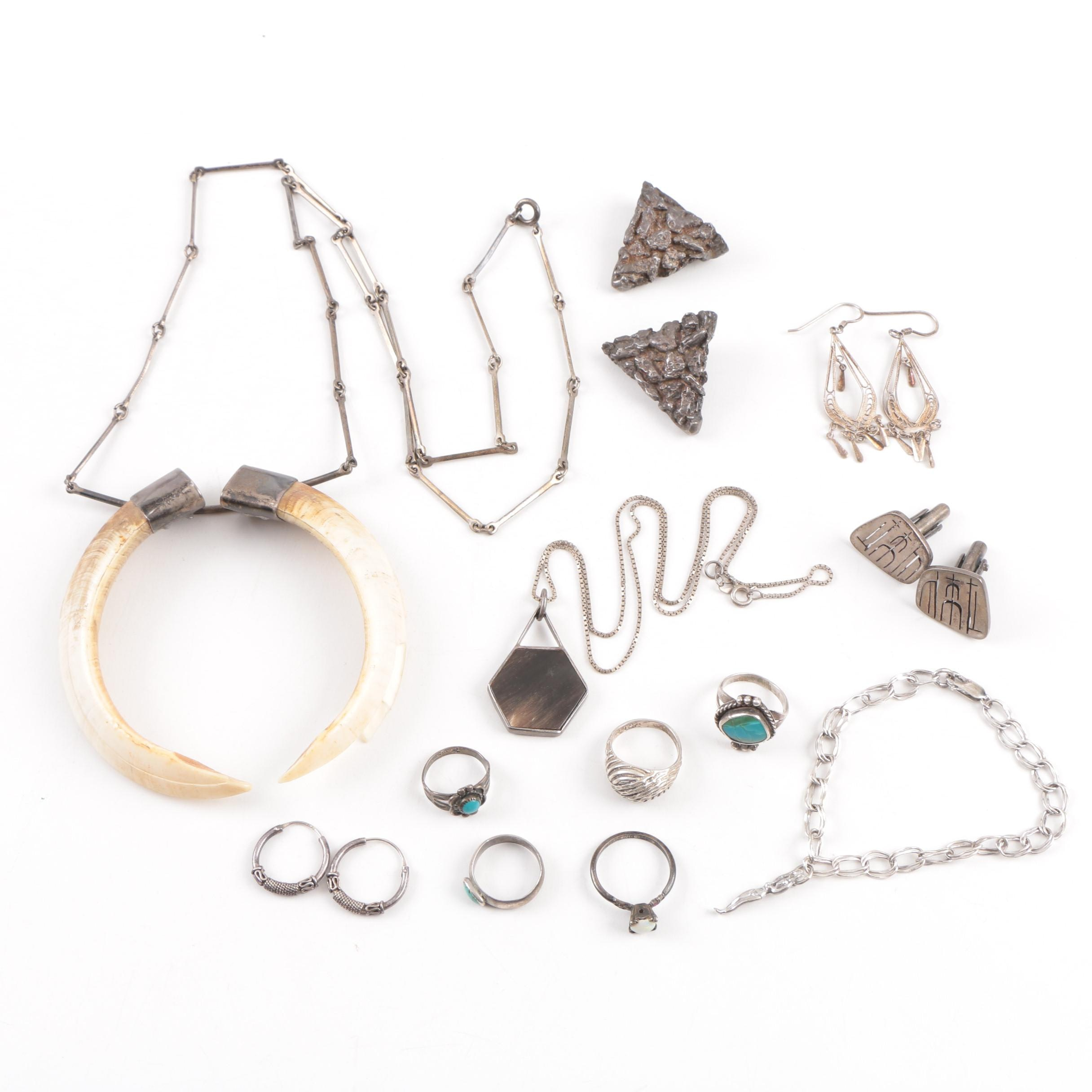 Sterling Silver Jewelry Featuring Bell Trading Post, Gemstones, Antler, and Boar Tusk