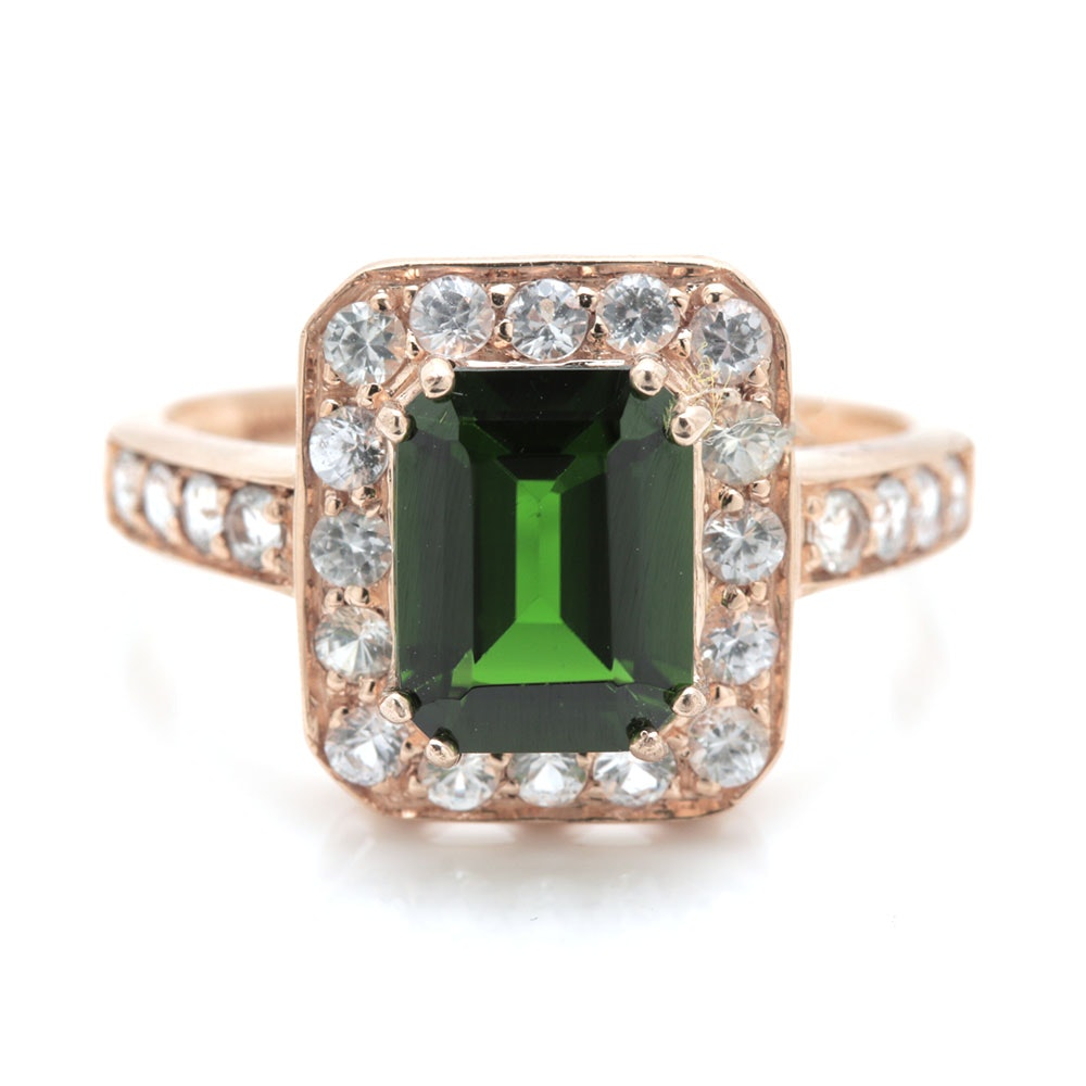10K Yellow Gold Diopside and White Zircon Ring