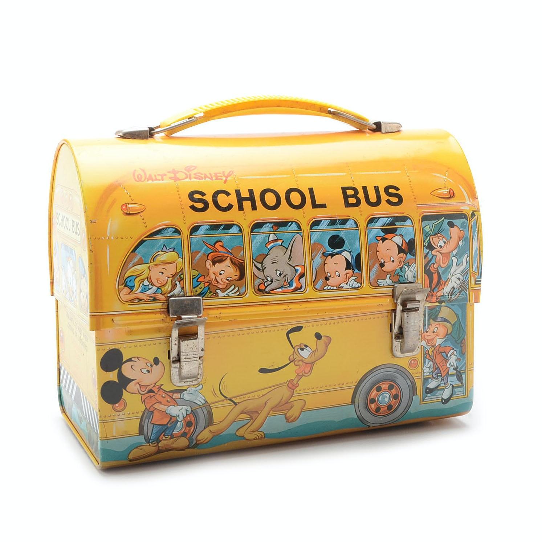 Vintage 1960's Aladdin Walt Disney School Bus Lunch Box