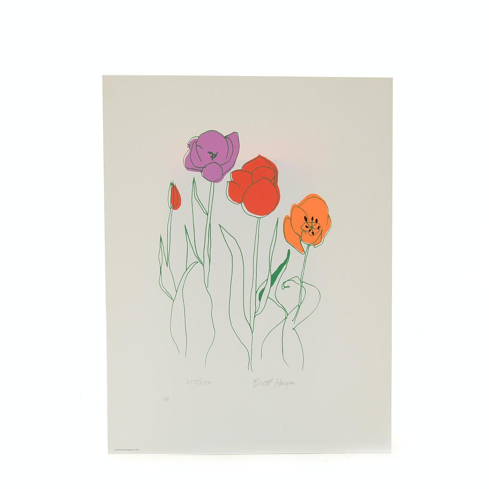 "Brett Harper Signed 1976 Limited Edition Serigraph ""Tulips"""