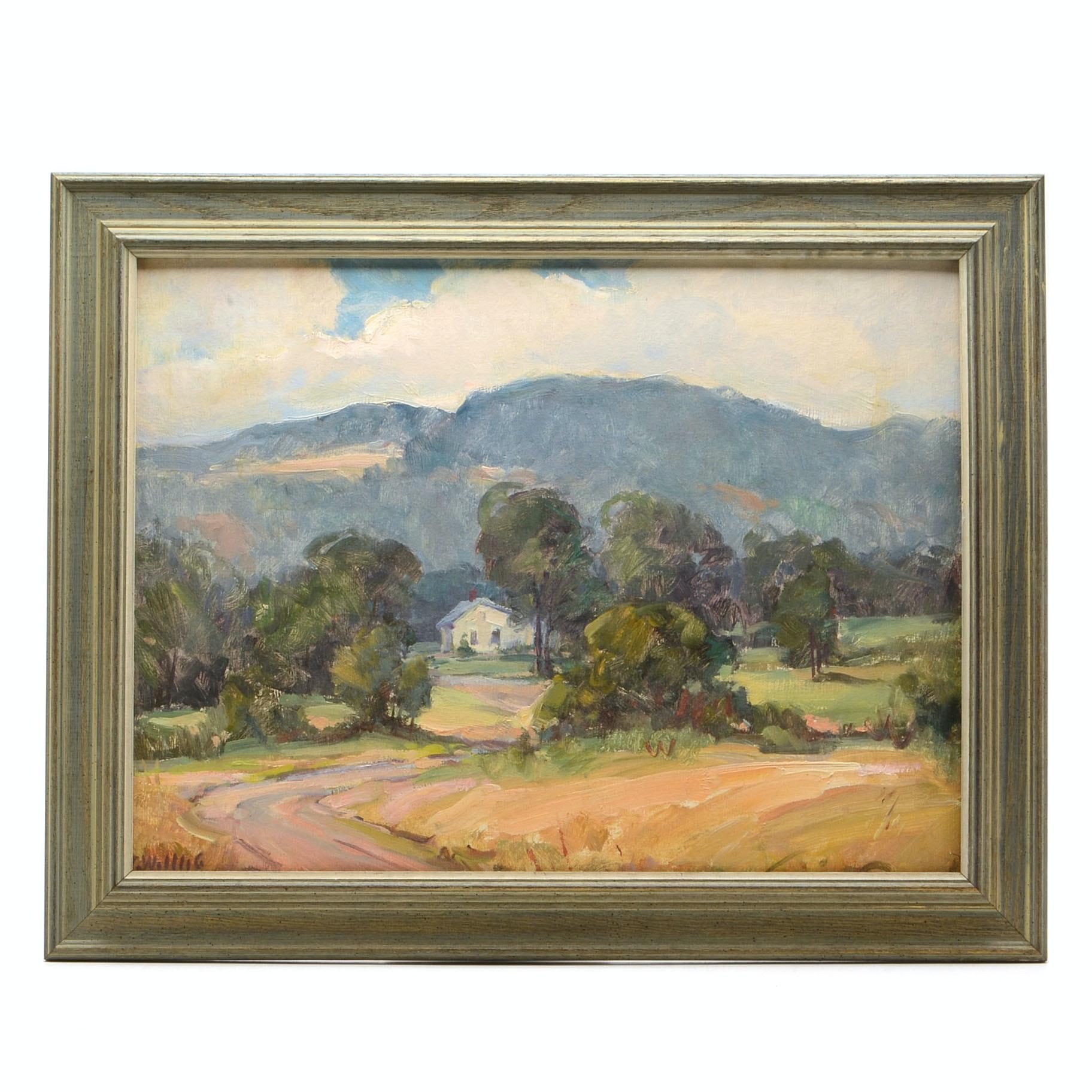 G. Willig Original Vintage Oil Painting on Panel