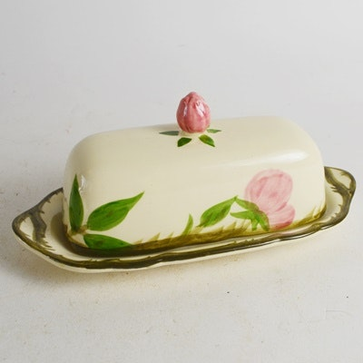 "Franciscan ""Desert Rose"" Covered Butter Dish With Rose Finial"