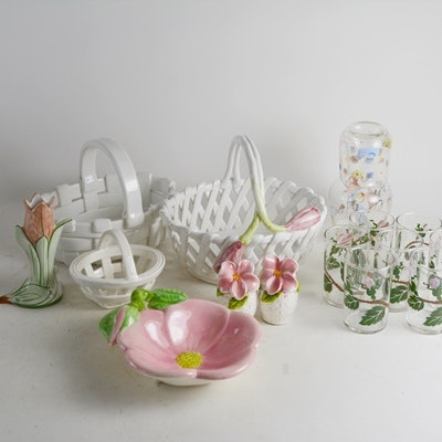 Porelain Baskets, Glassware and Other Items