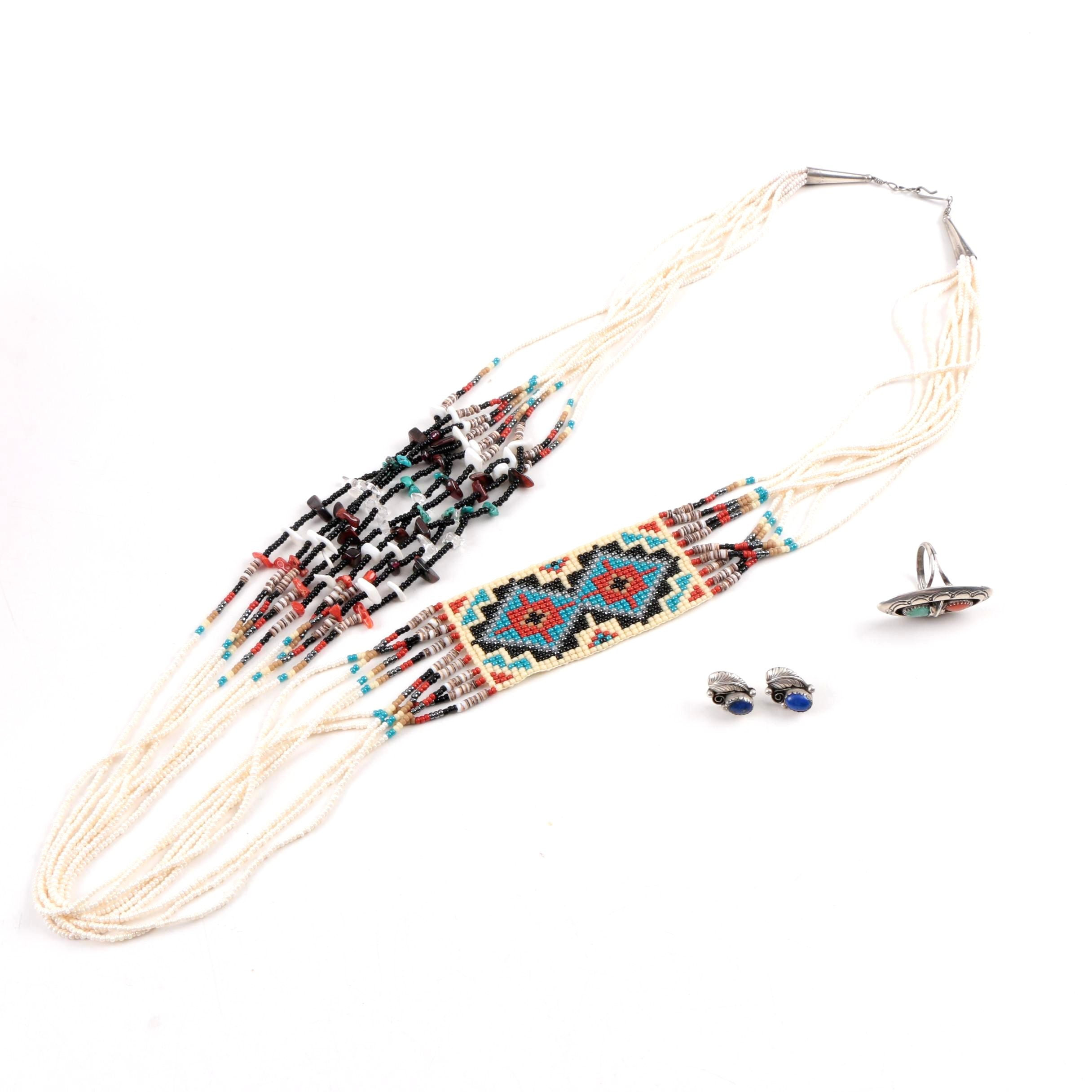 Thomas Tso Sterling Silver Gemstone Navajo Shadowbox Ring, Loomed Heishi Necklace, and Lapis Lazuli Studs