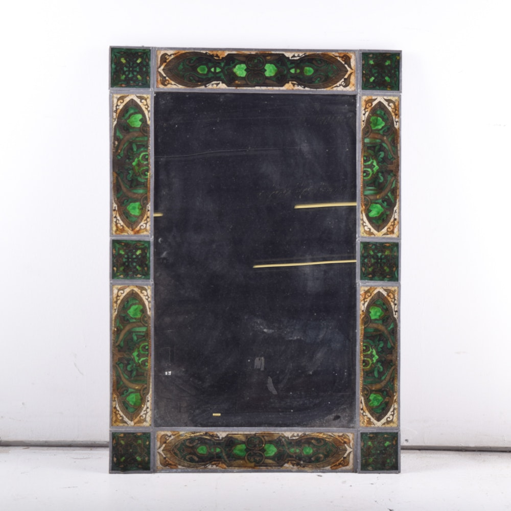 Wall Mirror with Reversed Painted Tiles