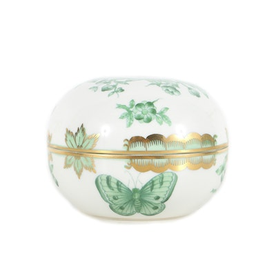 Herend Round Green Covered Box