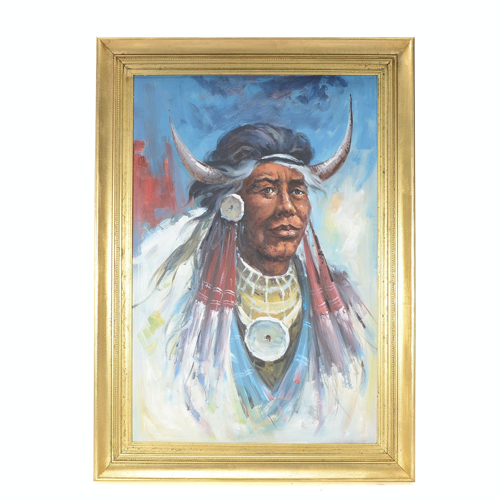 Original Oil Portrait Painting on Canvas of Native American