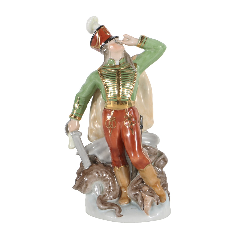 Herend Porcelain Figurine Of Hussar With Dragon