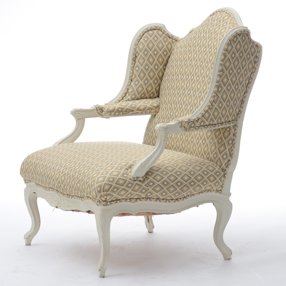Queen anne style upholstered oversized armchair ebth for Oversized armchair