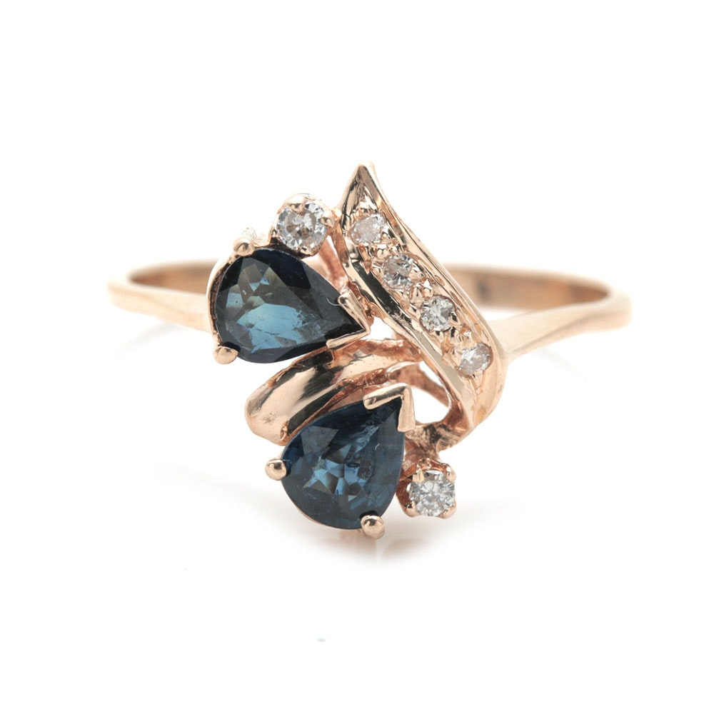 14K Yellow Gold 0.08 CTW Diamond and Sapphire Ring