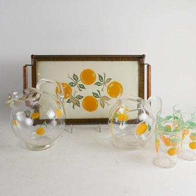 Vintage Orange Juice Serving Set