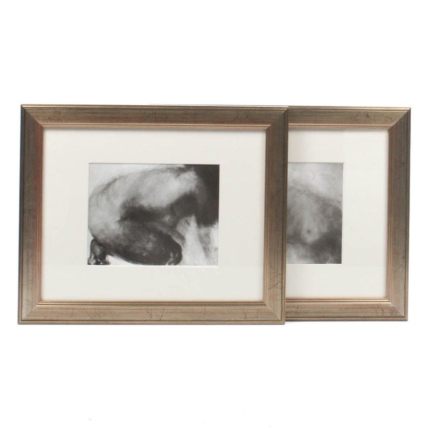 """Two Claude Garache Bookplates from 1977 """"Derrière le Miroir"""" No. 222"""