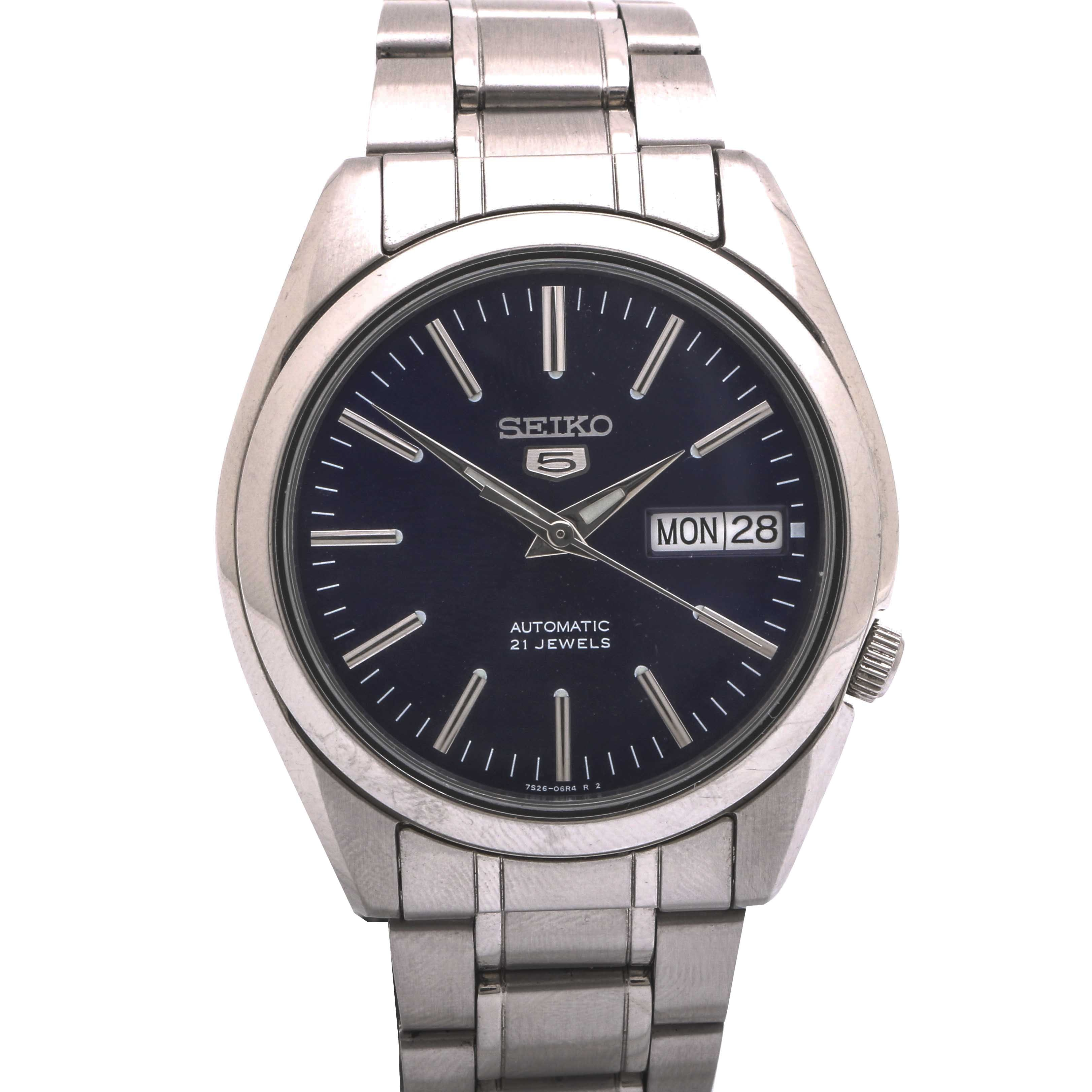 Seiko Automatic Stainless Steel Display Back Wristwatch