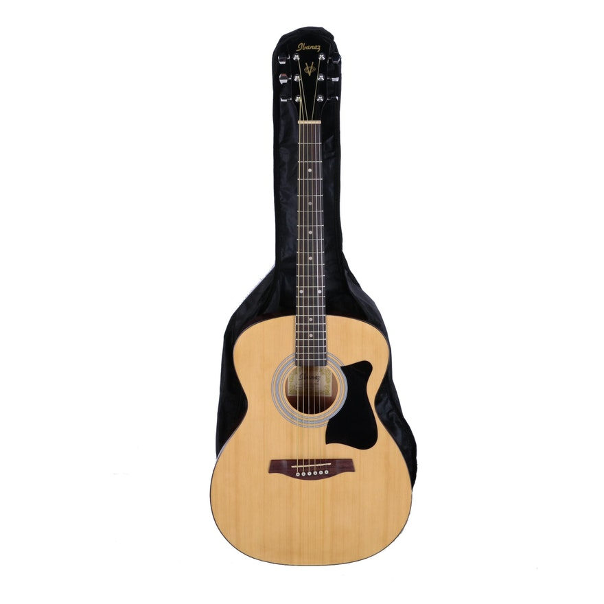 ibanez jumbo style acoustic guitar and accessories ebth. Black Bedroom Furniture Sets. Home Design Ideas