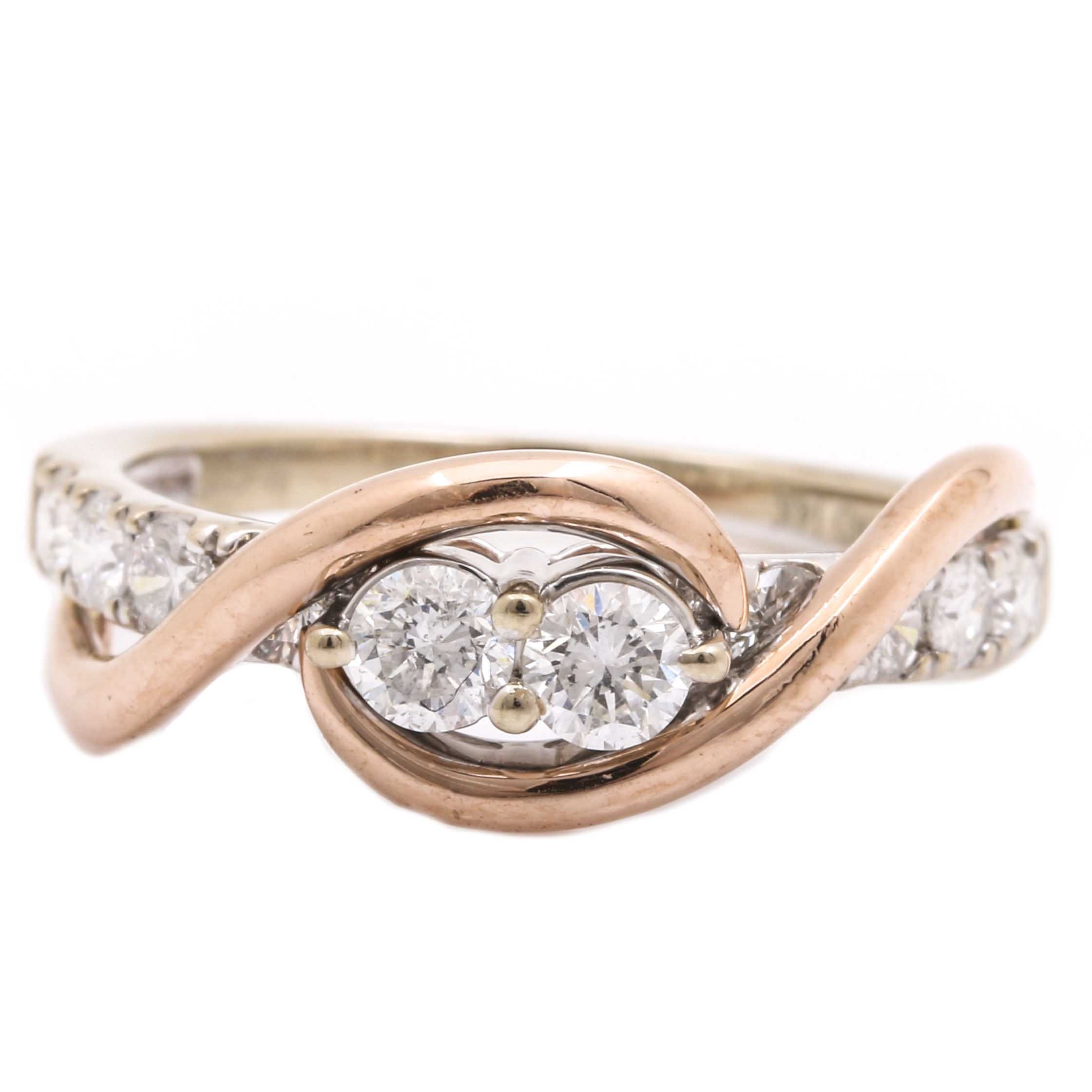 14K Two Tone Gold 0.64 CTW Diamond Ring