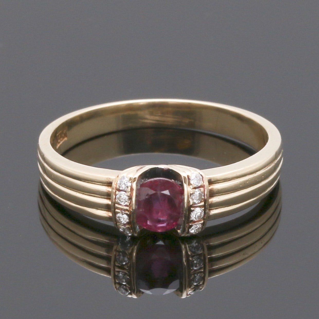 14K Yellow Gold Ruby and 0.06 CTW Diamond Ring