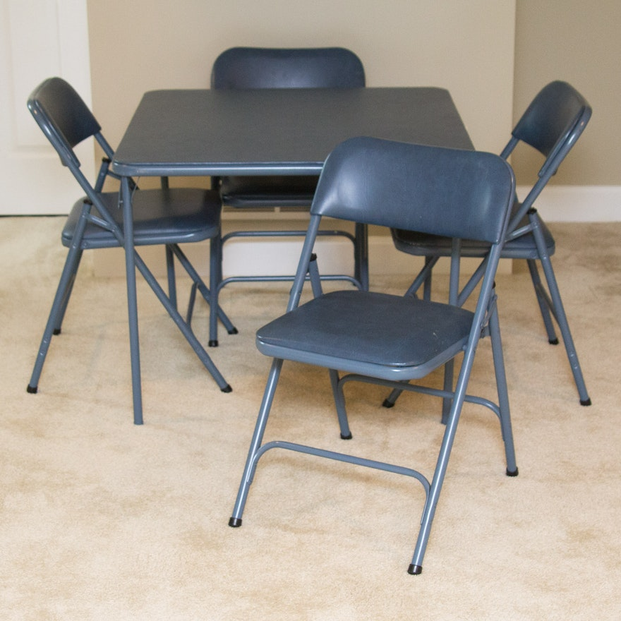 Samsonite Blue Metal Card Table With Folding Chairs Ebth