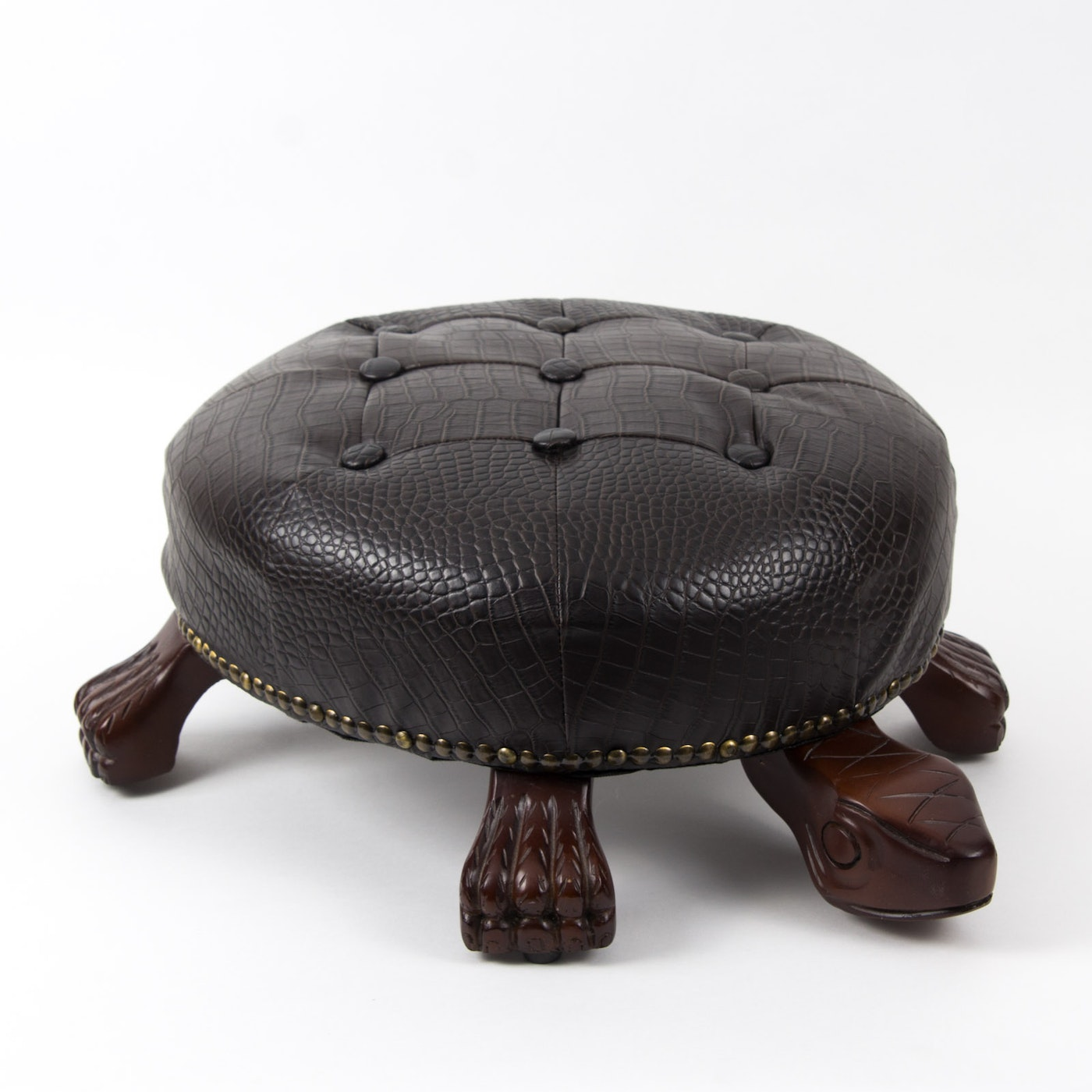 Tufted Faux Leather Walnut Turtle Footstool Ebth