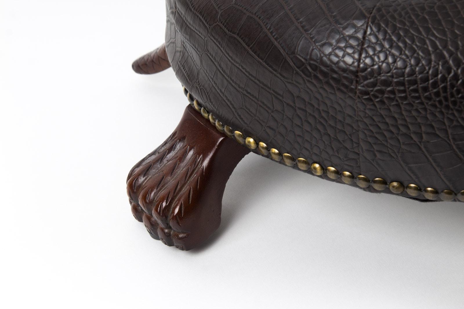 Tufted Faux Leather Walnut Turtle Footstool Ebth