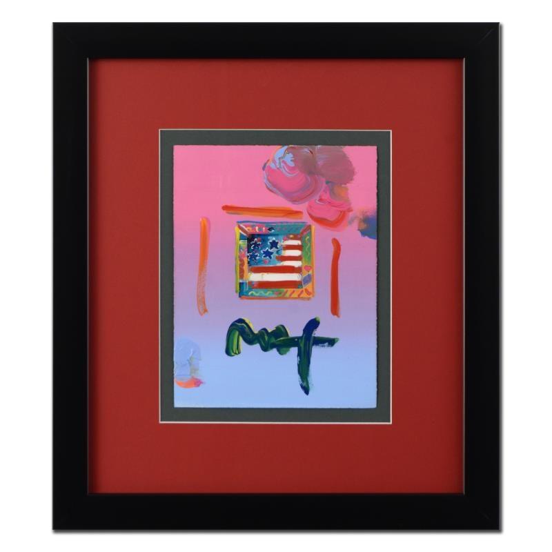 """Peter Max Mixed Media Artwork """"Flag"""""""