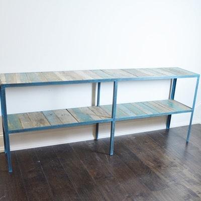 Primitive Metal and Wood Low Shelf