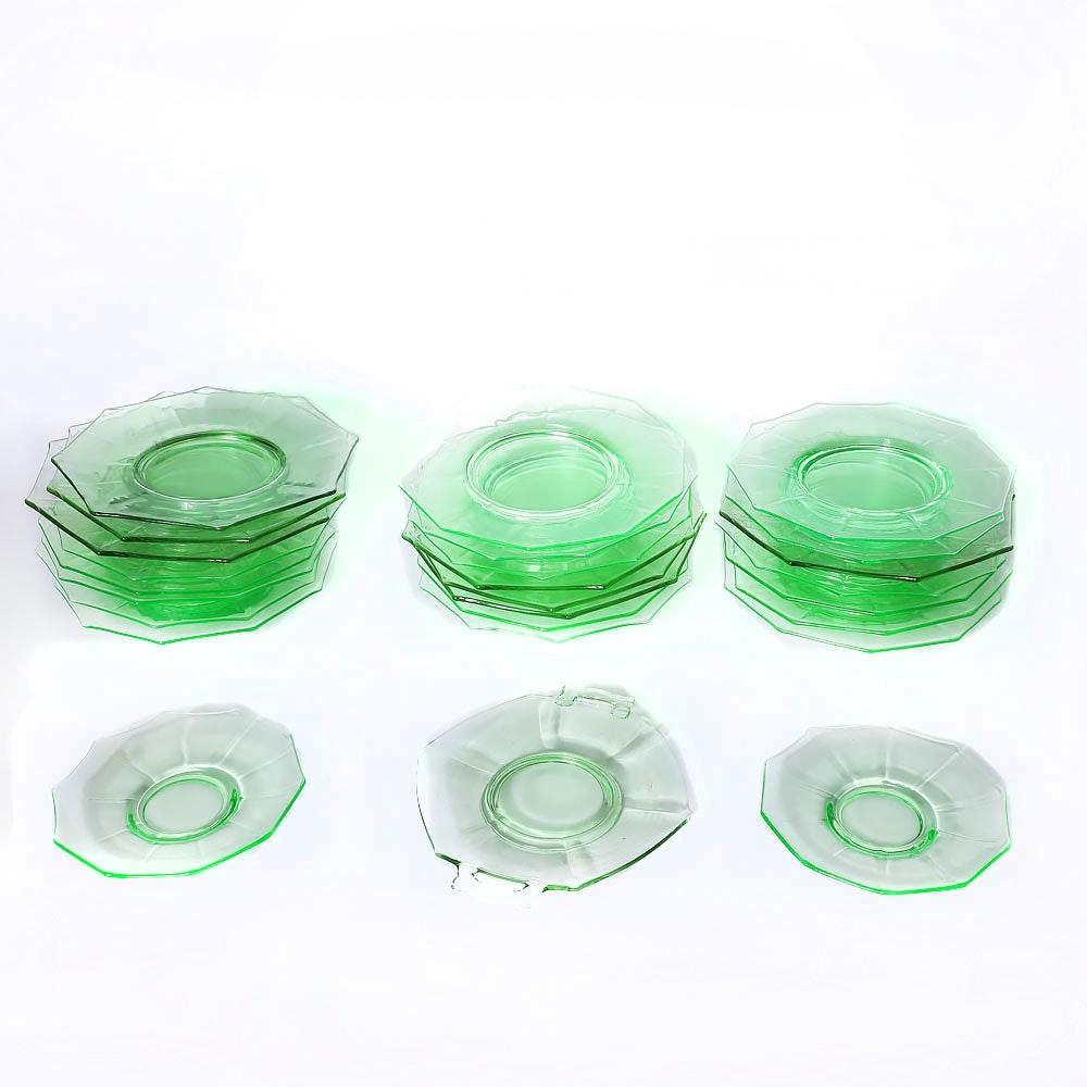 Collection of Green Depression Glassware