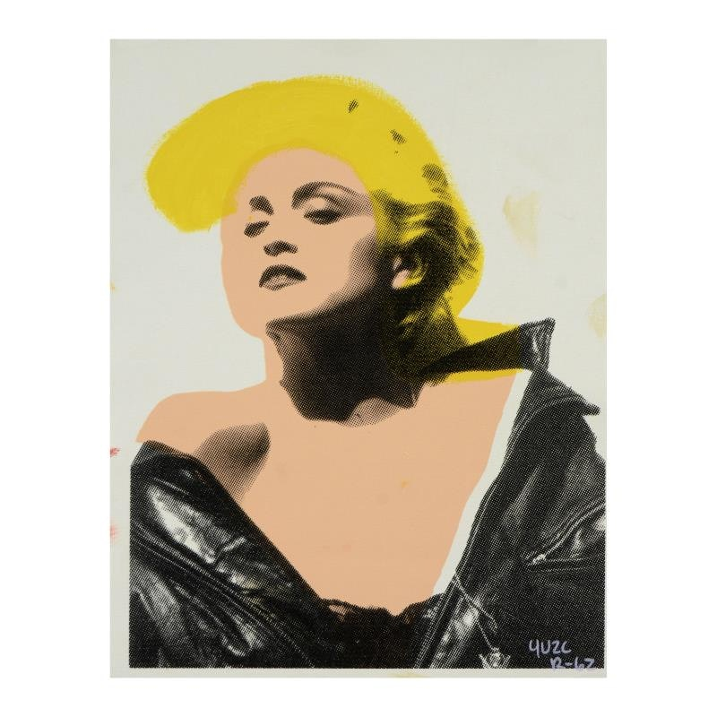 """Ringo Hand Pulled Silkscreen and Mixed Media on Canvas """"Madonna in Leather"""""""