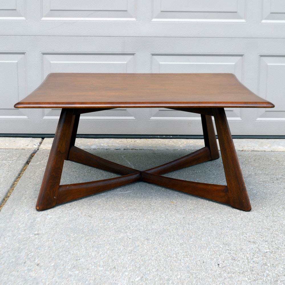mid century modern heywood wakefield walnut coffee table : ebth