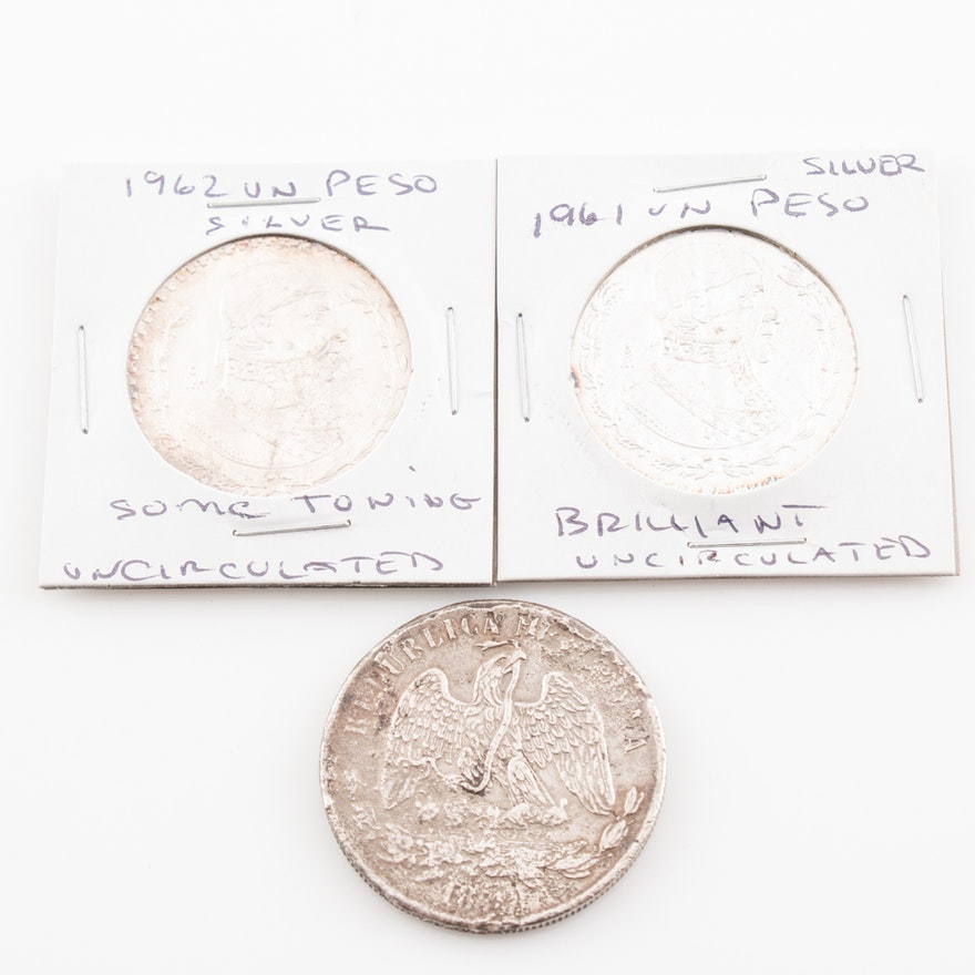 Three Silver Mexican Peso Coins