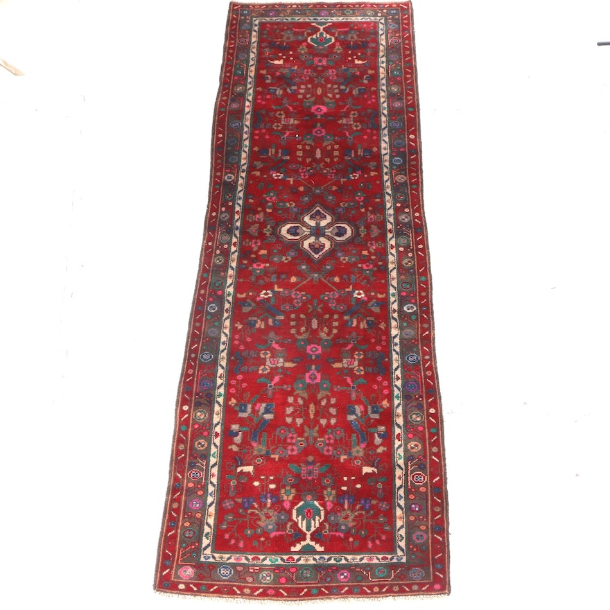 Hand Knotted Persian Wool Area Rug Ebth: Vintage Persian Hand-Knotted Wool On Cotton Runner Rug