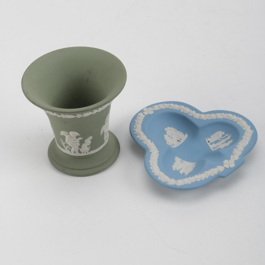 Wedgwood Jasperware Vase And Trinket Dish Ebth