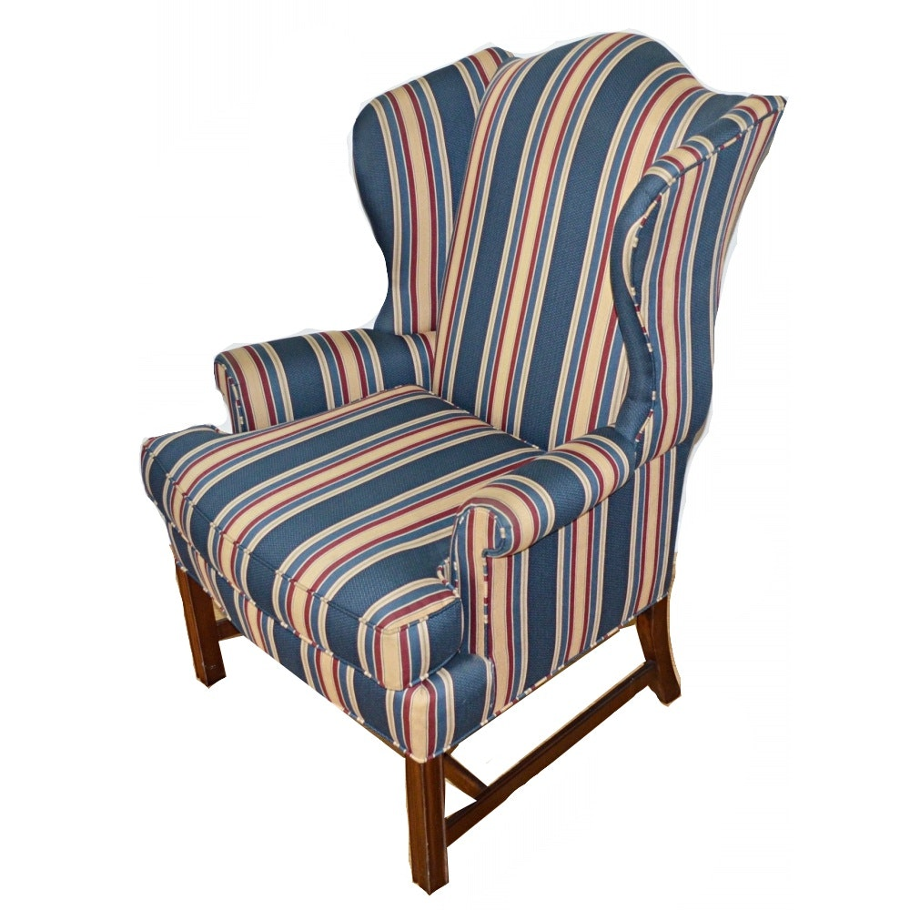 Striped Wingback Chair By Pennsylvania House ...