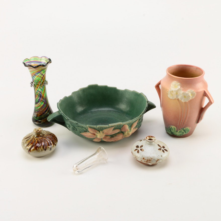 Selection Of Colorful Decorative Bowls And Vases Including Roseville