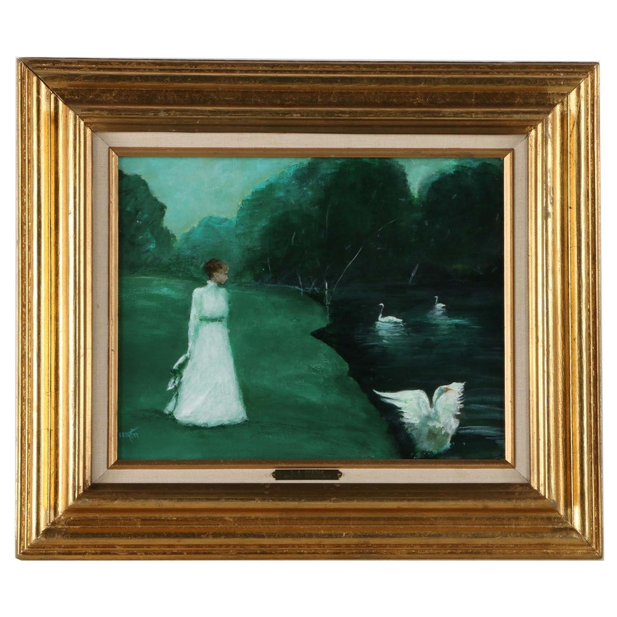 L.A. Porter Oil Painting on Canvas of Woman and Swans