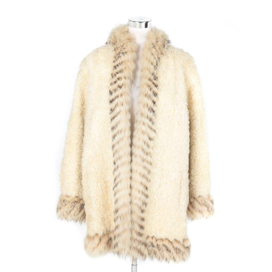 11ae218a8f0 Women's Yves Saint Laurent Lamb Fur Coat with Fox Trim : EBTH