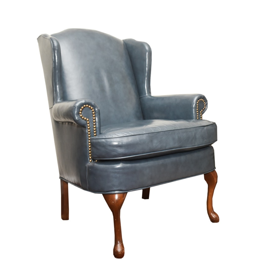 Queen Anne Style Blue Leather Wing Chair By Distinction Furniture Ebth