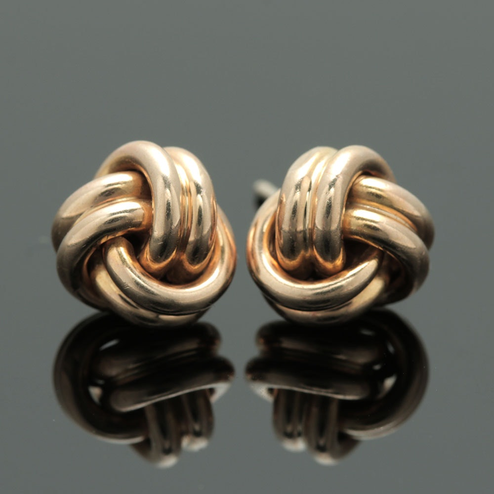 14K Yellow Gold Knotted Stud Earrings