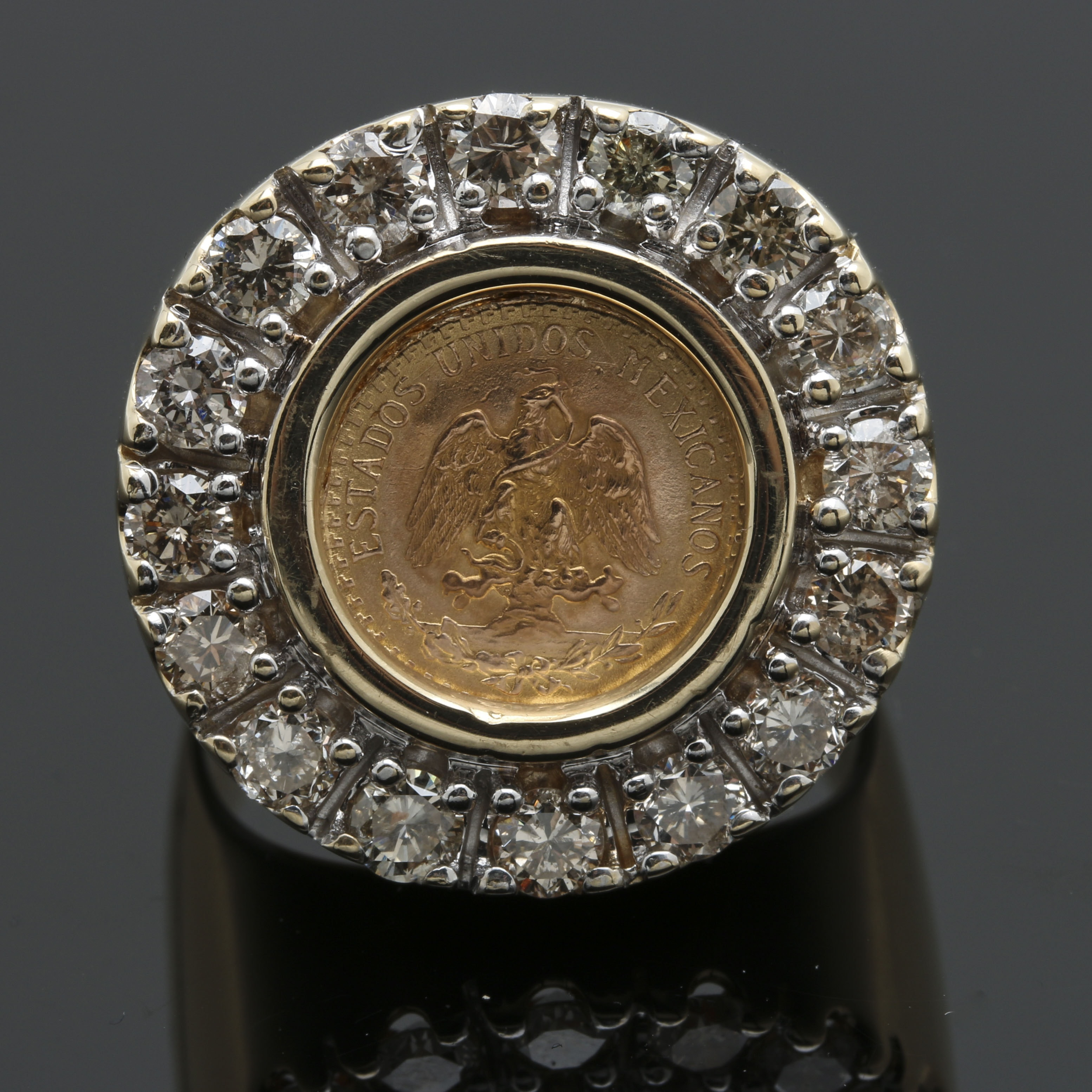 14K Yellow Gold Diamond and Gold Peso Signet Ring