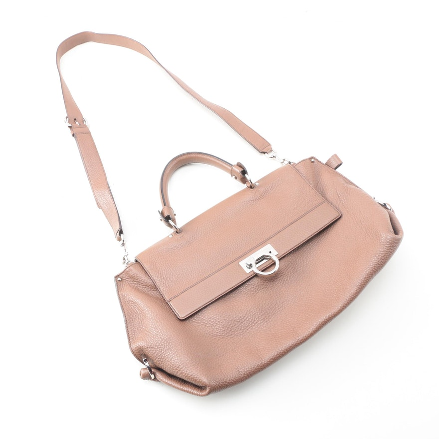 Salvatore Ferragamo Pebbled Leather Shoulder Bag   EBTH 71e7cc4b7b487