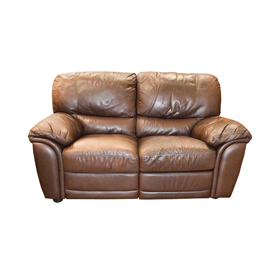 Admirable Brown Leather Natuzzi Loveseat With Built In Leg Rests Caraccident5 Cool Chair Designs And Ideas Caraccident5Info