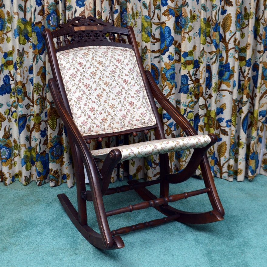 Surprising Antique Victorian Eastlake Folding Rocking Chair Pdpeps Interior Chair Design Pdpepsorg