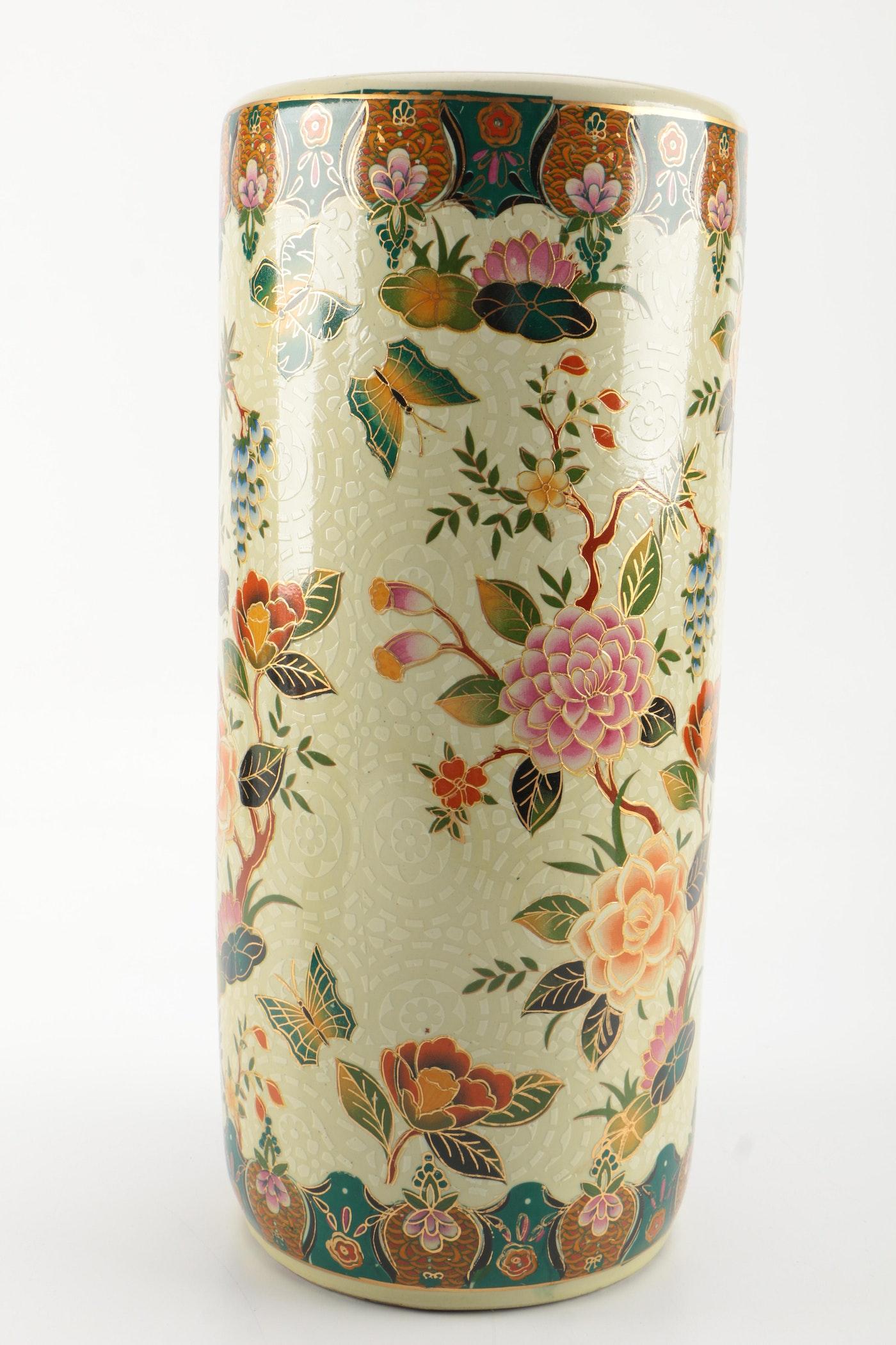 Fine Japanese Satsuma Ceramic Floor Vase With Base And Chinese Umbrella Holder Ebth