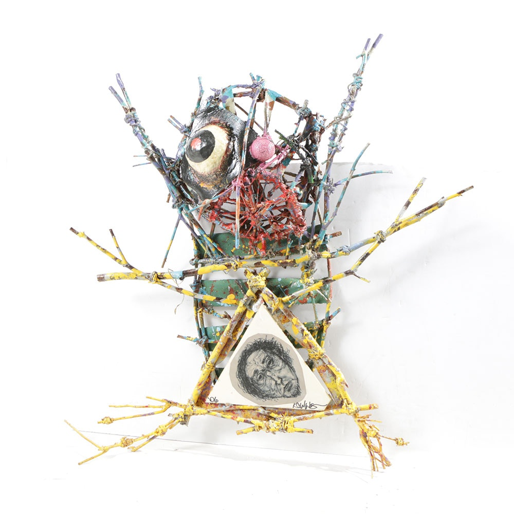 Frank Knowing Mixed Media Sculpture With Paper and Wood