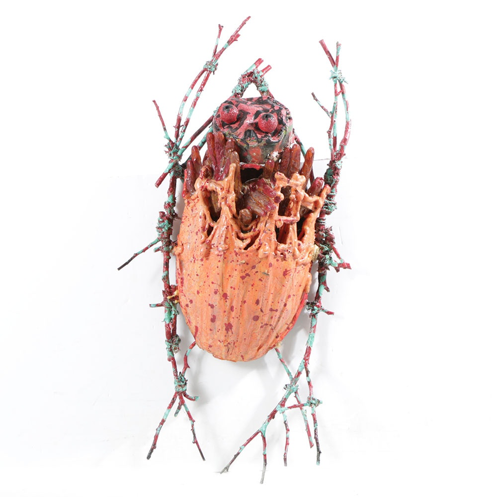 "Frank Kowing Mixed Media Sculpture ""Faceless Bug"""