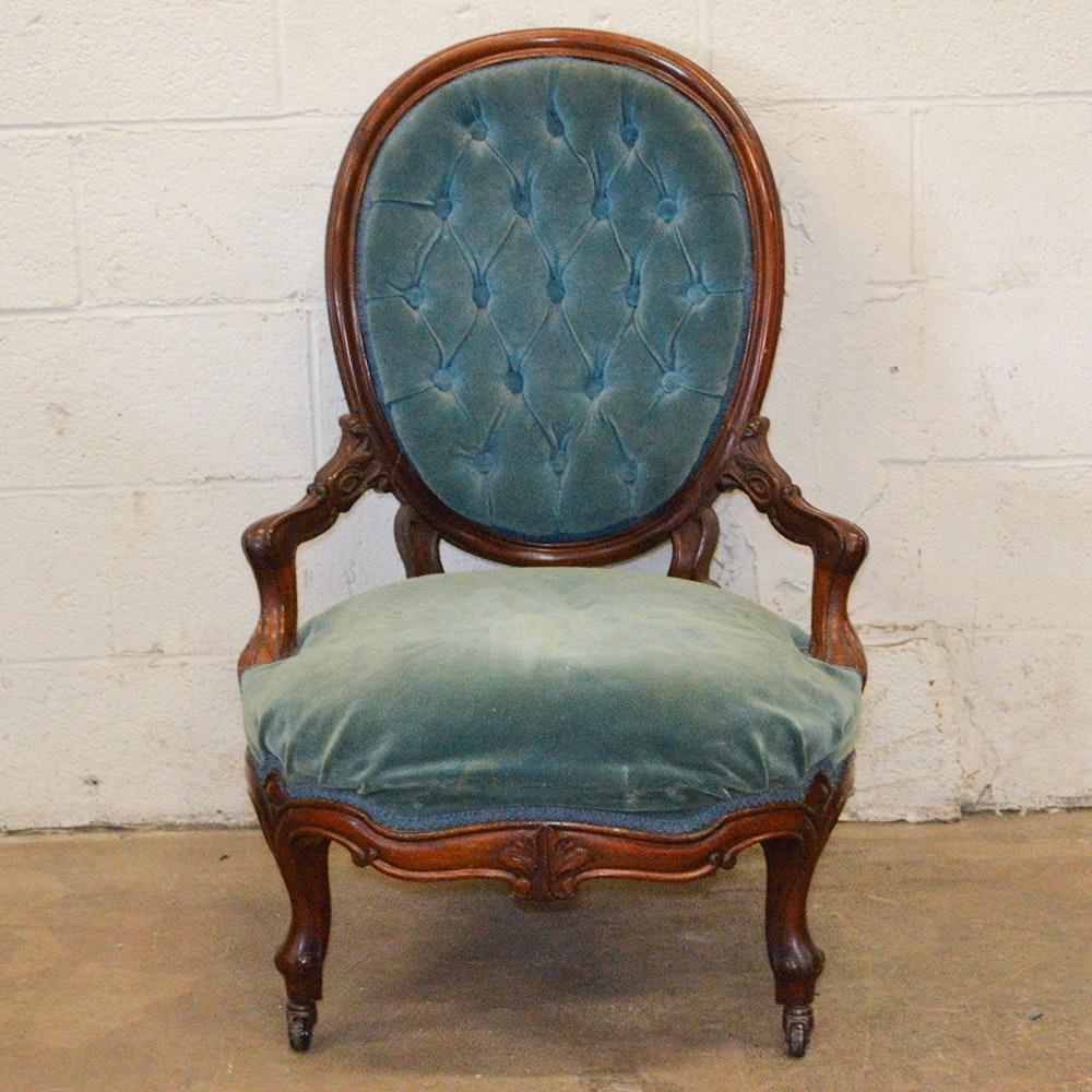 Teal Velvet Upholstered Button Back Armchair